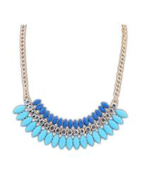 Gold Blue Bead Diamond Chain Necklace VGA07024