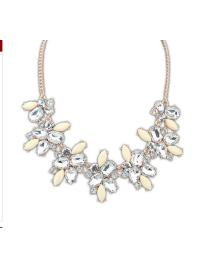 Gold White Gemstone Chain Necklace VGA07025