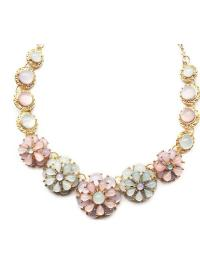 Gold Chain Colorful Gemstone Necklace VGA07026