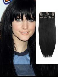 Indian Remy Jet Black Clip In Hair Extensions VGE10002