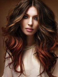 Indian Remy Brown To Red Ombre Clip In Beautiful Hair Extensions VGE11022