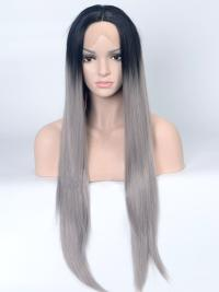 "Black To Grey Ombre 26"" Synthetic Wigs Lace Front Wigs VGW05001"