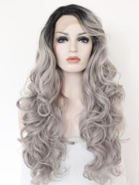 "Black To Silver 24"" Synthetic Wigs Lace Front Wigs VGW05003"