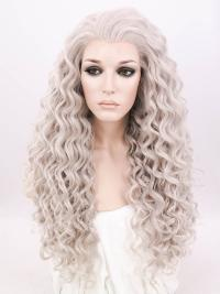 "Platinum Blonde 24"" Synthetic Wigs Lace Front Wigs VGW05004"