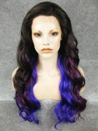 "24"" Black With Purple And Indigo Colorful Wavy Lace Front Wigs Wigs VGW05074"
