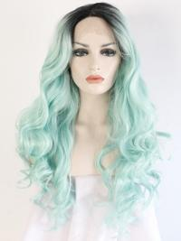 "Black To Mint 24"" Synthetic Wigs Lace Front Wigs VGW05093"