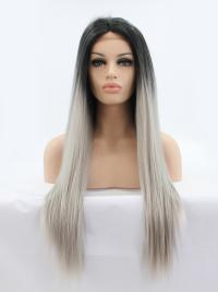 "Black To Silver 24"" Synthetic Wigs Lace Front Wigs VGW05094"